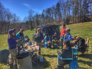 Having lunch during a learn 'n' fishing trip