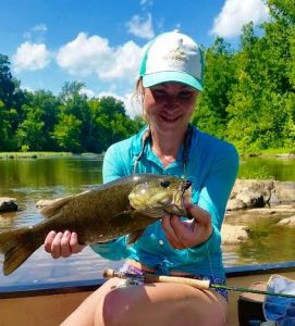 Rivanna River, smallmouth. This Virgina summmer smallmouth fell for a black Boogle Bug.